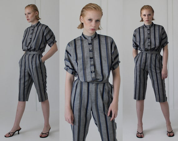 80's linen pin stripe pant suit | high waisted cul