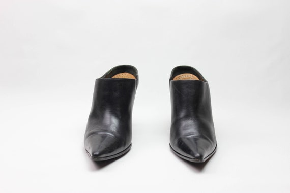 vtg 90s black leather minimalist pointed toe stil… - image 2