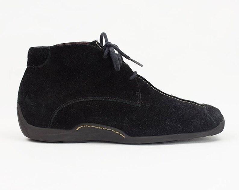 4ce60a925a161 vtg 90s black suede leather platform lace up grunge minimalist ankle boots