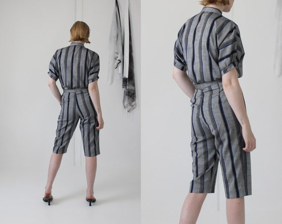 80's linen pin stripe pant suit   high waisted cu… - image 7