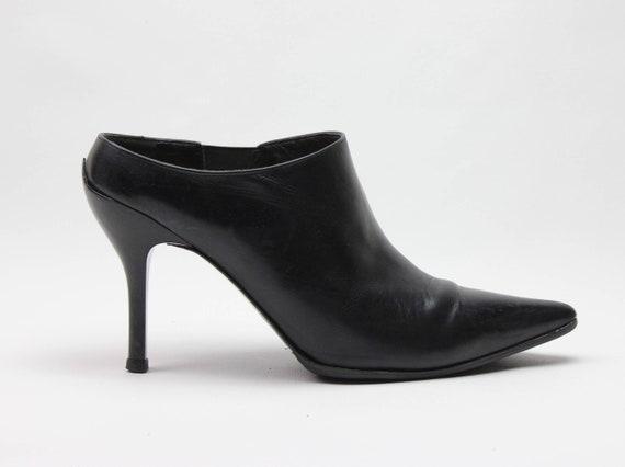 vtg 90s black leather minimalist pointed toe stil… - image 1