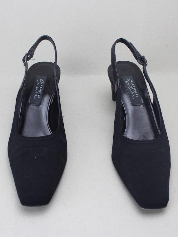 90s black minimalist neoprene structural heel sli… - image 2