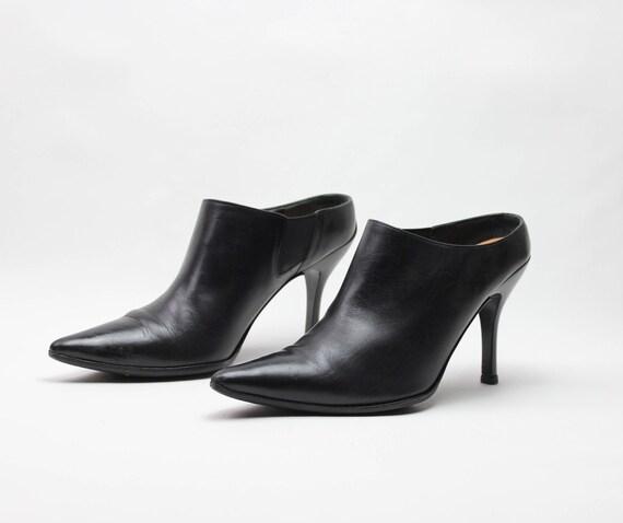 vtg 90s black leather minimalist pointed toe stil… - image 4