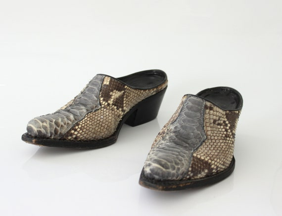 vtg 90s genuine snakeskin  pointed toe avantgarde… - image 4