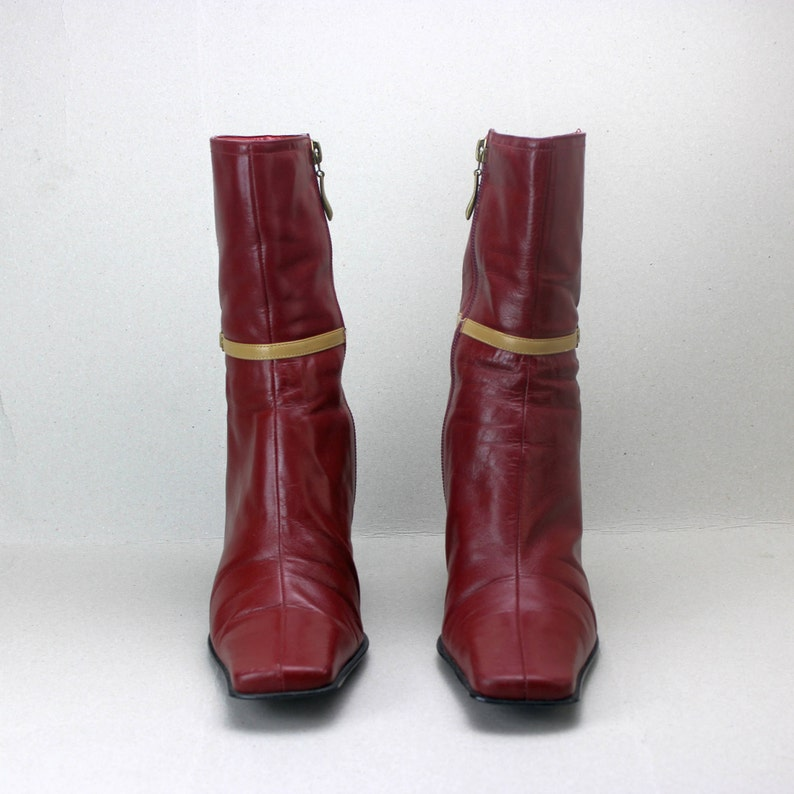 86931d55173ae vtg 90s burgundy leather minimalist structural buckle ankle boots US 8