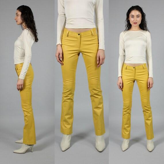 mustard yellow soft leather pants | skinny |  W 28