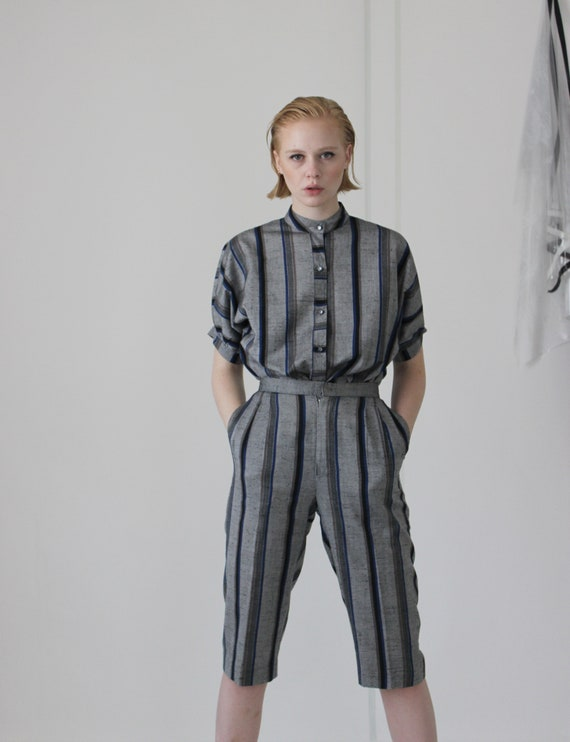80's linen pin stripe pant suit   high waisted cu… - image 6