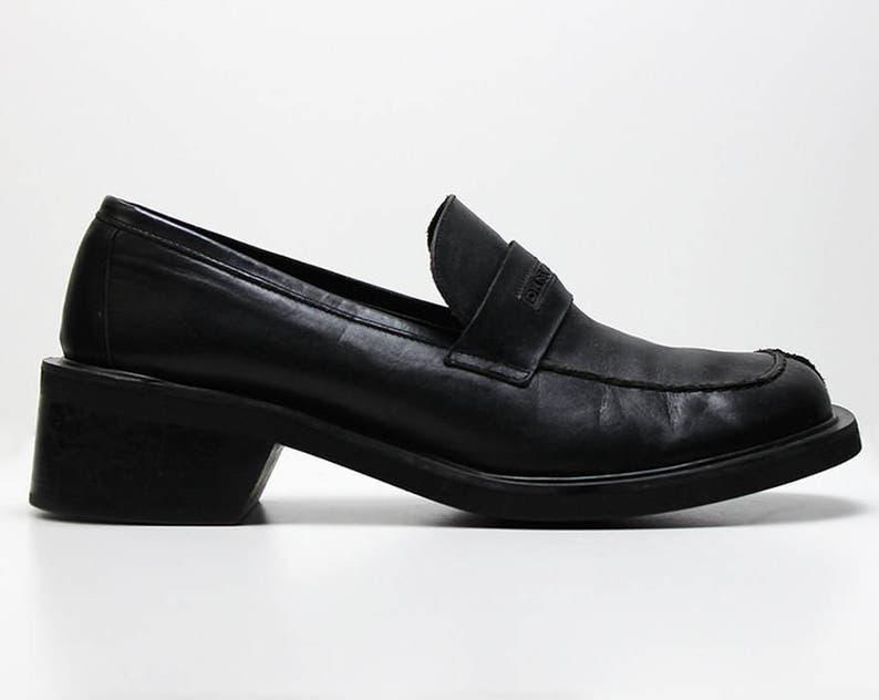 9e4a8e24e Vtg 90s leather black preppy lolita grunge DKNY oxford brogues | Etsy