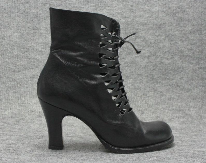 3907e23fd20aa vtg 90s black leather cut out lace up ankle boots EU 37.5 US 7
