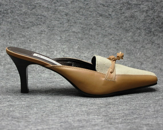 90s leather fabric tan heeled mules US 7.5