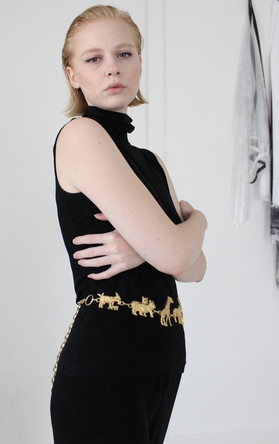 gold chain statement belt | wild animals novelty m