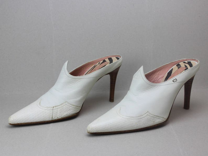 bd04eec13e6fb 90s white leather ESCADA minimalist avant garde heeled mules EU 36