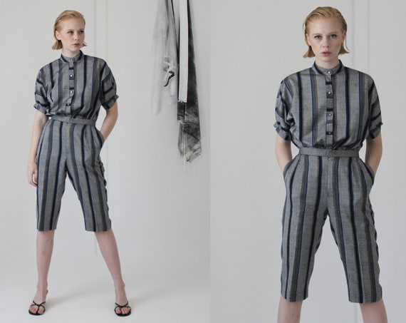 80's linen pin stripe pant suit   high waisted cu… - image 2