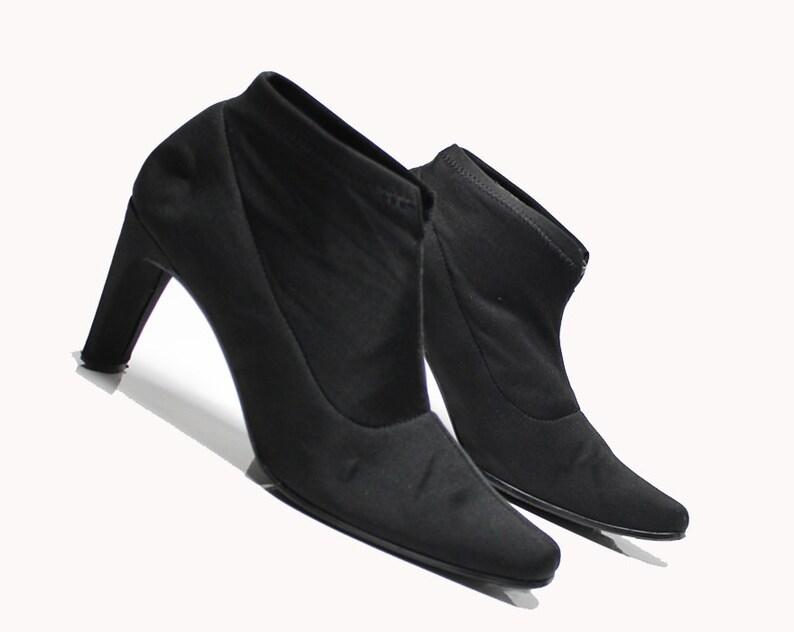5e0b074bdb668 vtg 90s black neoprene stretch minimalist structural heel ankle boots 7