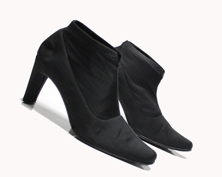 4bebb9563eaff vtg 90s black neoprene stretch minimalist structural heel ankle boots 7