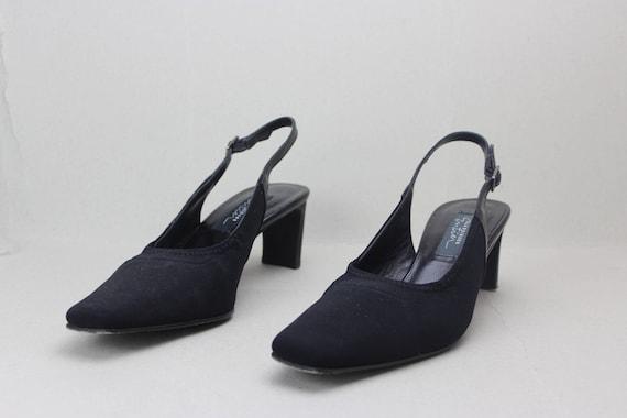 90s black minimalist neoprene structural heel sli… - image 4