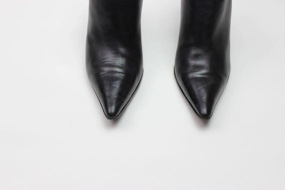 vtg 90s black leather minimalist pointed toe stil… - image 3