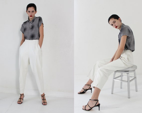 lamb leather white pleated trousers | S M