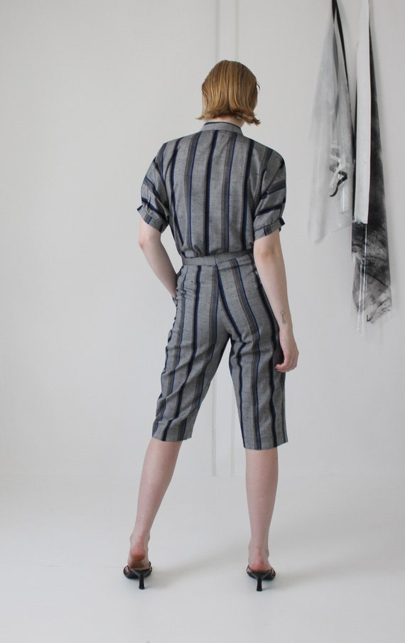 80's linen pin stripe pant suit   high waisted cu… - image 9