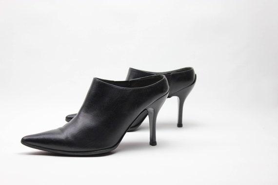 vtg 90s black leather minimalist pointed toe stil… - image 8
