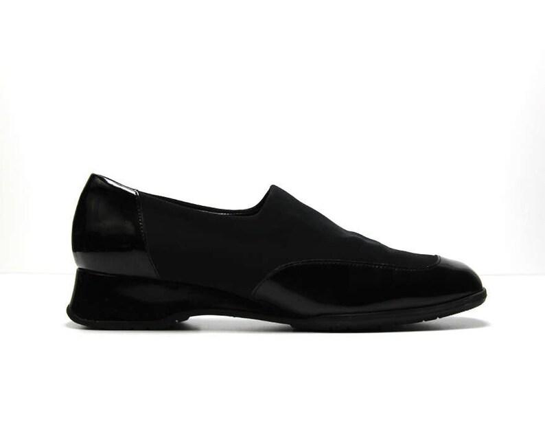 db4a4e5c4aafa vtg 90s black neoprene patent leather AVANT GARDE futuristic minimalist  wedge platform shoes US 10