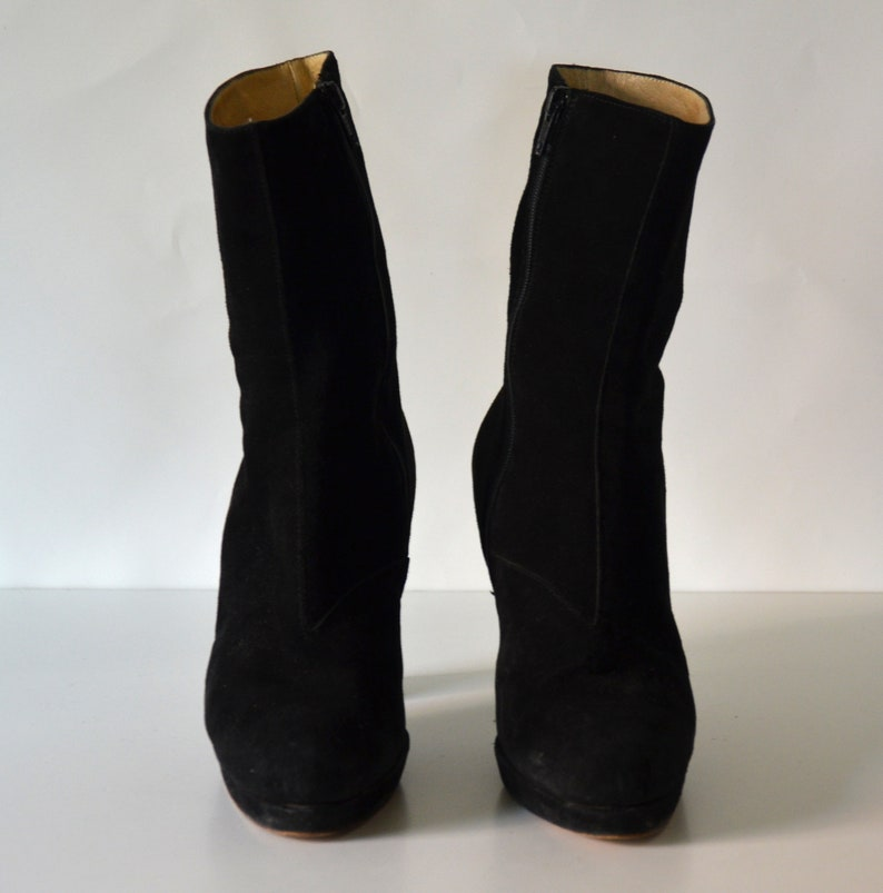 0ce38388ef0f0 90's black suede chunky flare heel ankle boots EU 38 US 7 7.5