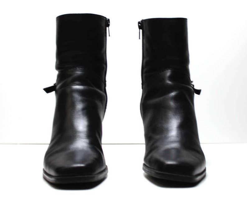 1ec3d6d073988 vtg 90s black leather minimalist structural futuristic harness buckle ankle  boots US 7.5
