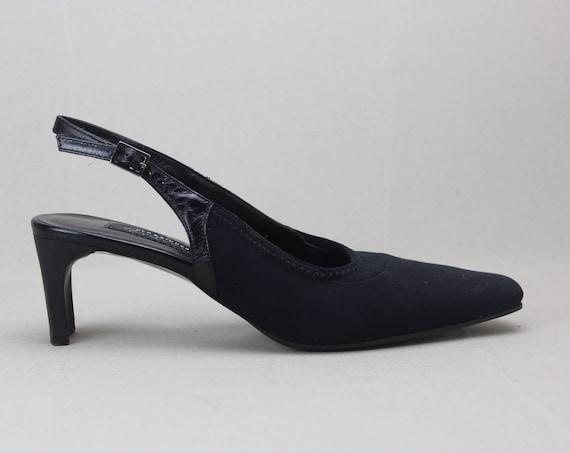 90s black minimalist neoprene structural heel sli… - image 7