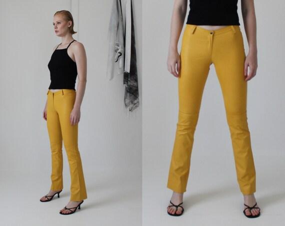soft leather mustard yellow minimal pants |  W 28