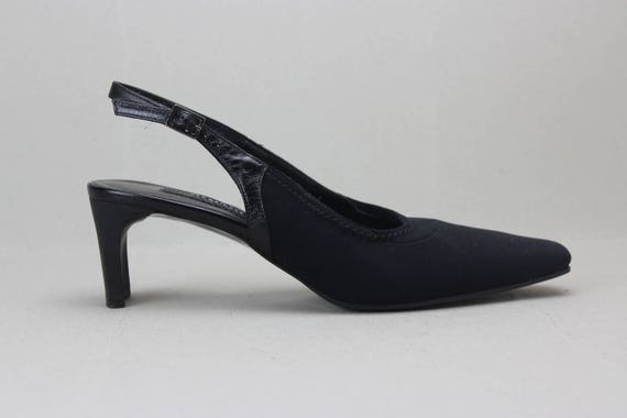 90s black minimalist neoprene structural heel sli… - image 1