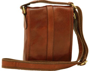 Leather Satchel Bag in Gold made of Genuine Italian Leather - Messenger Bag - Leather Bag - Travel Bag - Briefcase - Mens Gift