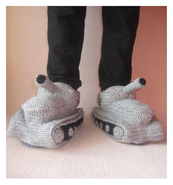 Hand Knit Slippers, Crochet Tank Slippers, Adult Crochet Slippers, Gift For Him, Handmade Shoes, Tank Slippers Shoes, Tanks Knit Slippers