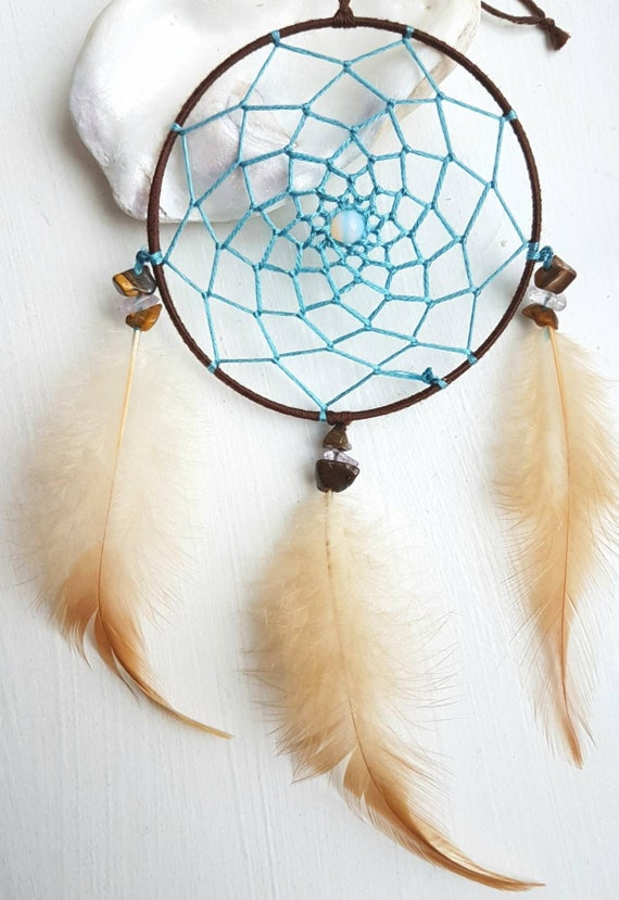 """Dream Catcher Wall Hanging Brown Blue 4/"""" Diameter Beads and Feathers"""