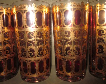Set of 6 Culver High Ball Glasses with 22K Gold Scroll Work and Cranberry Pattern