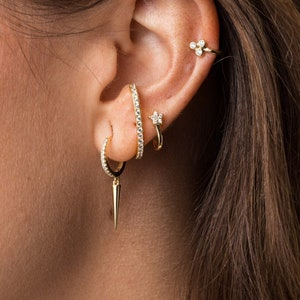 Huggie hoops-Dainty Earrings-Spike cz hoops-Thin hoops-Tiny hoops-Minimalist earrings-Minimal hoops Small hoops