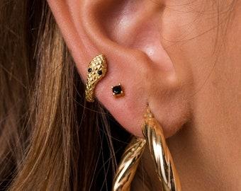 Serpent Hoop - Serpent Earrings - Tiny Hoops - Hoops Earrings - Gold Earrings - Silver Earrings - Minimal Earrings - Dainty Earrings