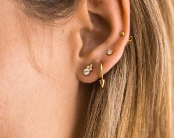 Tiny earrings - Dainty cz studs - Cz earrrings  - Gold studs - Gold earrings - Delicate earrings - Minimal studs - Dainty Jewels -