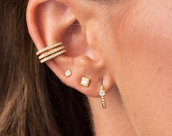 Tiny cz earrings - Gold cz stud earrings - Silver cz stud earrings - Dainty studs - Dainty earrings - Tiny studs - Minimalist earrings