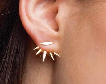 Spike gold ear jacket, Gold ear jackets, Ear jacket earrings,Dainty ear jacket,Modern ear jacket, Ear cuff, Dainty earrings, Tiny ear jacket