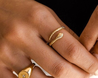 Gold Plated Brass Ring Adjustable Snake Ring Statement Ring Handmade Ring Snake Ring Serpent Ring Slytherin Ring Dainty Snake Ring