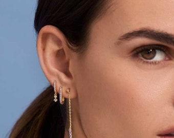 Cz dainty charm hoops , Small dainty hoops earrings, Tiny Cz gold hoops, Dainty earrings, Beaded gold hoops, Minimalist earrings, Gold hoops
