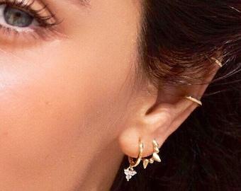 Hoop earrings, Gold hoops, Dainty hoop earrings, Cz dangle hoops, Tiny hoops, Minimalist earrings, Dainty jewelry, Dangle hoops gold