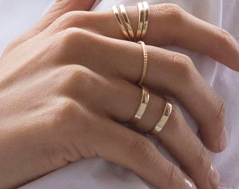 Double band ring, Gold double ring, Minimalist gold ring, Dainty silver ring, Minimal ring, Cuff ring, Minimal dainty jewelry, Chunky ring