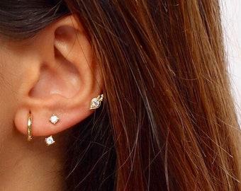 Front back earrings - Ear jacket - Dainty Ear Jacket - Gold earrings - Ear jacket earrings   - Minimal earring - CZ Ear Jacket