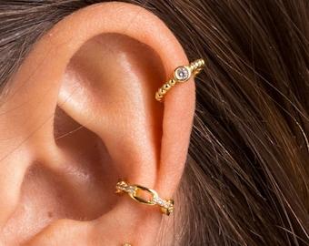 Cz Dot ear cuff - zirconia ear cuff - classic gold ear cuff - silver ear cuff - minimal ear cuff - dainty ear cuff - fashion ear cuff