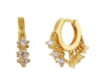 Gold charms hoops earrings -Dainty silver hoops - Cz gold hoops - Cz gold earrings - Cz dainty classic hoops - Elegant classic hoops