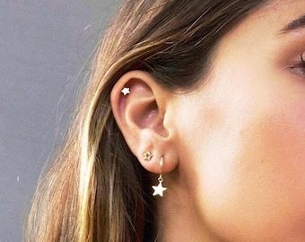 6fb49451c Star hoops, Star charm hoops, Gold star hoops, Hoop earrings, dainty  earrings, minimalist earrings, thin earrings, charm earrings