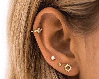 9a7dde5b3 Sun stud earrings - Tiny gold studs - Dainty earrings - Tiny studs -  minimalist earrings - gold earrings -delicate stud earrings -gold studs
