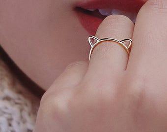 Ring In Kaars.Cat Ears Ring Etsy
