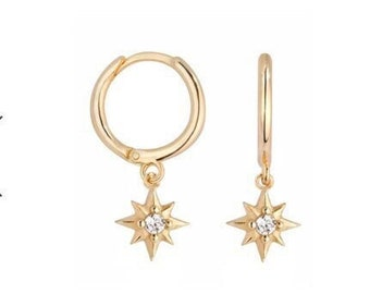 c210bc2a7 Huggie Earrings - Dainty Gold Hoops - Star Hoop Earrings - North Star Hoops  - CZ Gold Hoop Earrings - Dainty Earrings -Minimalist Earrings